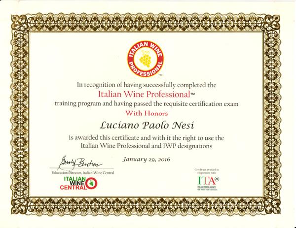 Luciano Nesi Certificate
