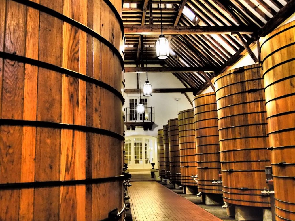 Signature large wooden vats, credited, in part, for the soft supple texture often noted in Jordan Winery's Cabernet.